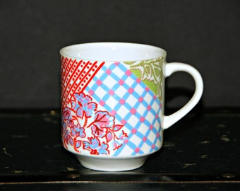 Tapestry Quilt Mugs Multicolor, Pastels, Floral, Plaid, Blue, Red, Yellow, Green, Made in Japan, Stackable, Coffee, Kitsch, Country Chic