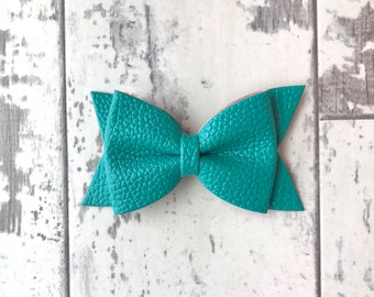 Teal Daphne faux leather bow