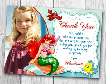 Little Mermaid Thank You Card - Little Mermaid Thank You Note - Ariel Thank You Card - Little Mermaid Printables