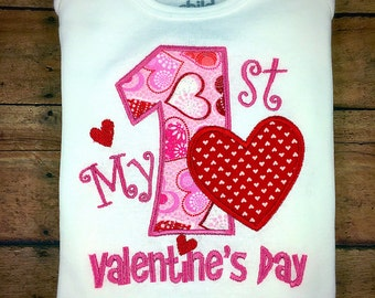 Infant one piece / My first Valentine's Day / valentine child shirt / 1st valentines shirt / baby valentine shirt