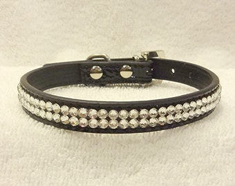 Rhinestone Dog Collar, Swarovski Crystal Collar, SMALL Black Bling Pet Collar with Rhinestone Buckle