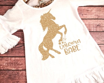 Baby Girl Clothes, Unicorn Babe Dress, Unicorn Dress, Unicorn Birthday Party Dress, Unicorn Party Dress,Unicorn Outfit,Glitter Unicorn Dress