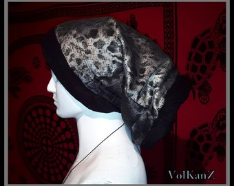 "Tube scarf/headpiece ""Leopard silver"""
