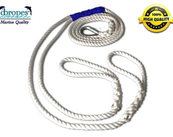 "dbRopes Double Mooring Pendant 100% Nylon Rope with Stainless Steel Thimble 5/8"" & 3/4"" Made in USA"
