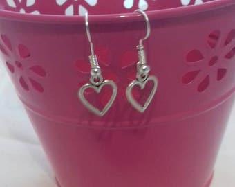 Heart Drop Earrings, Heart Dangle Earrings, Simple Drop Earrings, Traditional Jewellery, Heart Jewelry, Handmade Earrings,