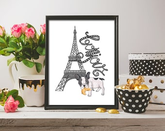 Hello Print Bonjour Wall Decor Print French Poster Instant Download Bonjour Print French France Print Bonjour Poster Hello Quote Print
