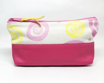 Hand Painted Canvas Zipper Pouch Pink Yellow Leather Small Handmade Makeup Bag Gifts for Her Under 50 School Supply Organizer Travel Case
