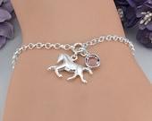 Horse Bracelet Horse Jewelry Equestrian Bracelet Horse Lover Gift Custom Birthstone Bracelet Personalized Sterling Silver Bracelet