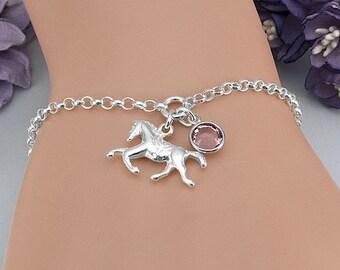 Horse Bracelet, Horse Jewelry, Equestrian Bracelet, Horse Lover Gift, Custom Birthstone Bracelet, Personalized, Sterling Silver Bracelet