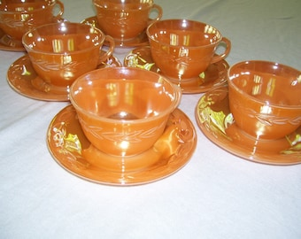 Fire King Lustreware Peach Cups and Saucers Vintage