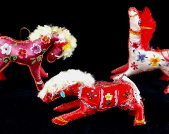 Vintage Set of Embroidered Horse Ornaments From China