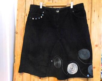 Upcycled skirt, black cord skirt, size 16 cord skirt, black jeans skirt, one off original.