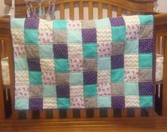 Baby Girl Quilt Purple, Teal and Gray. Crib/Toddler blanket