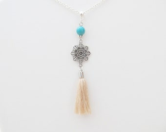 Mandala necklace, yoga necklace, tassel necklace
