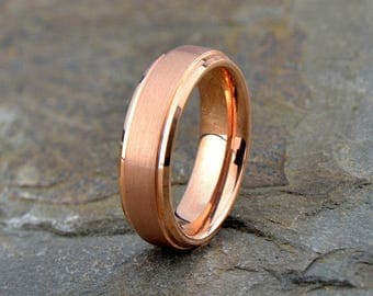Tungsten Wedding Band,18k Rose Gold plated,Tungsten Wedding Ring, Anniversary Band, Tungsten Ring, Engagement Band, Comfort Fit, 6mm