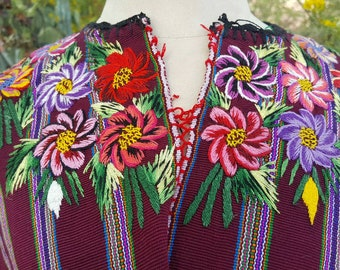 Hand Embroidered Guatemalan Huipil Southwest Hippie Gypsy Festival Style