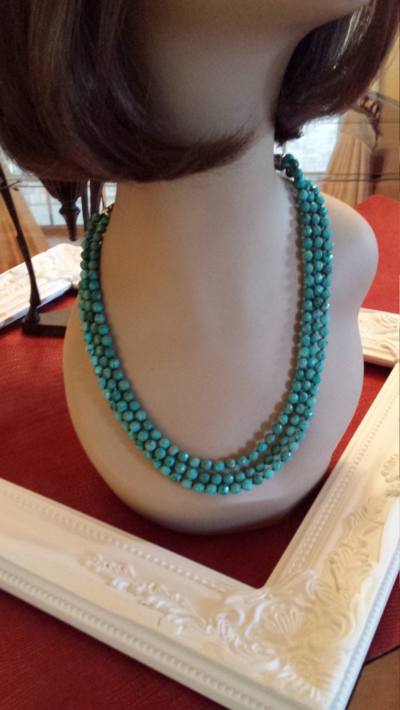 Three strand faceted turquoise necklace