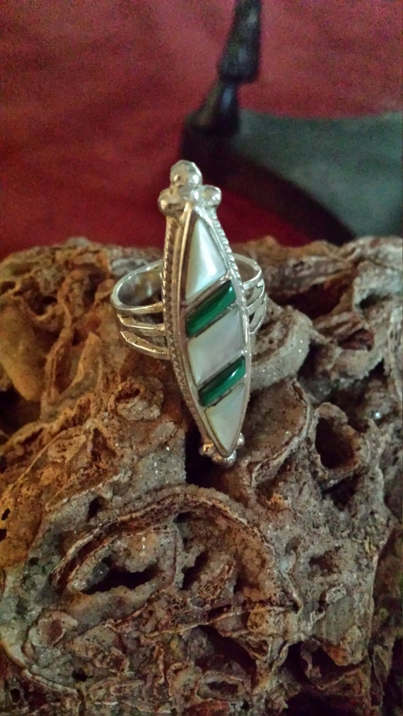 Sterling silver native American turquoise and shell inlaid ring