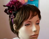 RESERVED for Julia Vintage Inspired Orchid Headpiece Purple Glitter