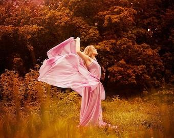 Long pink dress - airy chiffon dress - bridesmaid dress - ready to ship!