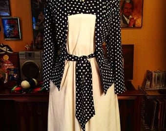 Vintage 1970's Blue ans White Polka Dotted Dress Size 14