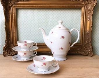 Vintage Tea Set Moss Rose Bone China Tea Pot Tea Cups Shabby Chic 40's Europen Kitchenware