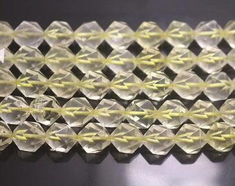 10 mm Faceted Lemon Quartz Beads, Natural Faceted Lemon Crystal Quartz Beads Full Strand