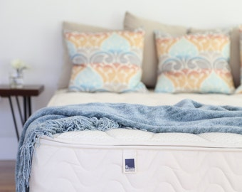 Twin Size Natural Latex Mattress with Wool & Organic Cotton Case.  Assemble in your own home. Free shipping. Made in USA.