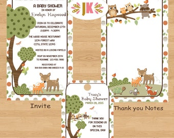 Woodland Woods Jungle Baby Shower Printed Invitations