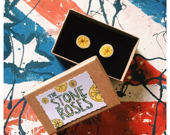 The Stone Roses Lemon Earrings - Handmade