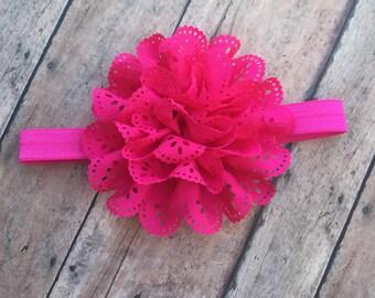 Pink Flower Headband - Pink Eyelet Flower Hair Clip - Elastic Headband - Pink Headband - Pink Headband - baby headband - Newborn girl - Pink