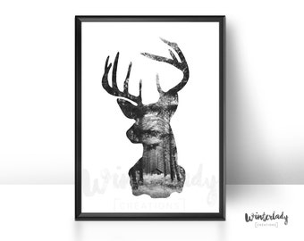Deer and dark forest black and white poster  | Printable | Instant Download