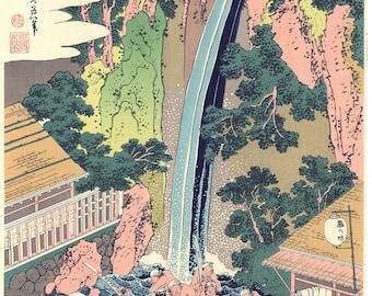 "Japanese Ukiyo-e Woodblock print, Katsushika Hokusai, ""The Rôben Falls at Ôyama in Sagami Province"""