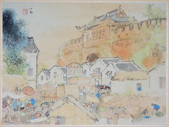 "Japanese antique print, Takeuchi Seihō, ""Jinan"""