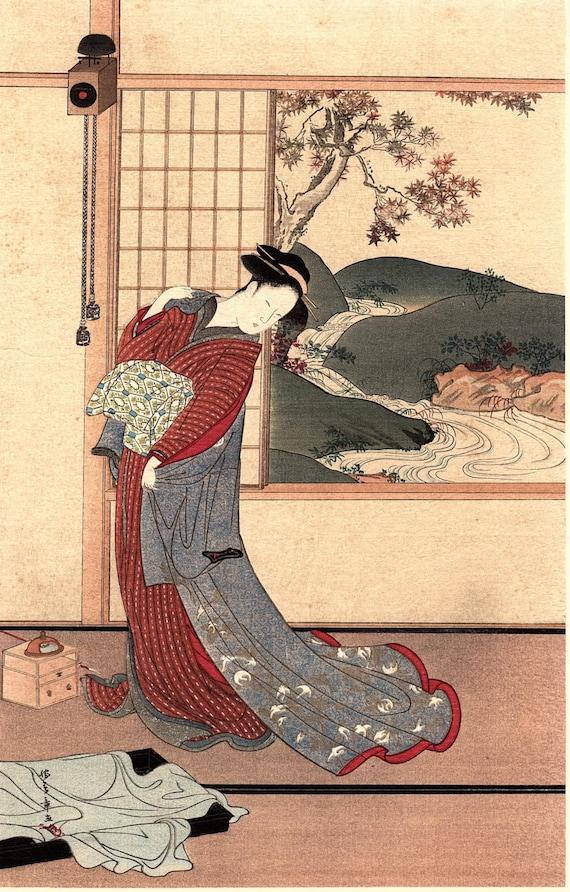 "1923, Japanese vintage Woodblock print, antique, Gyokuransai Sadahidei ""Refined beauty"""