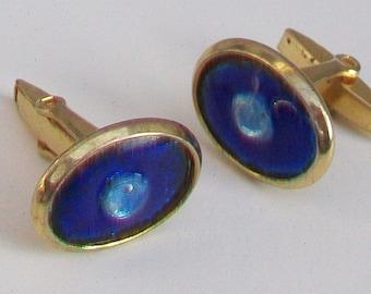 Blue Glass in Gold Tone Cufflinks