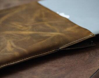 Handmade leather laptop pouch (custom made)