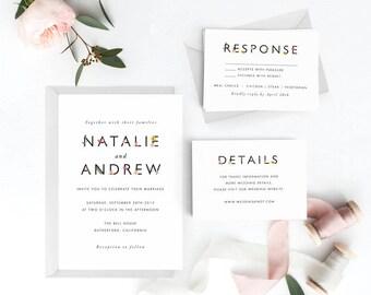 Garden Wedding Invitation Suite, Wedding Invitation Printable, Invitation Set, Wedding Invitation Rustic, PDF Letter or A4 (Item code: P193)