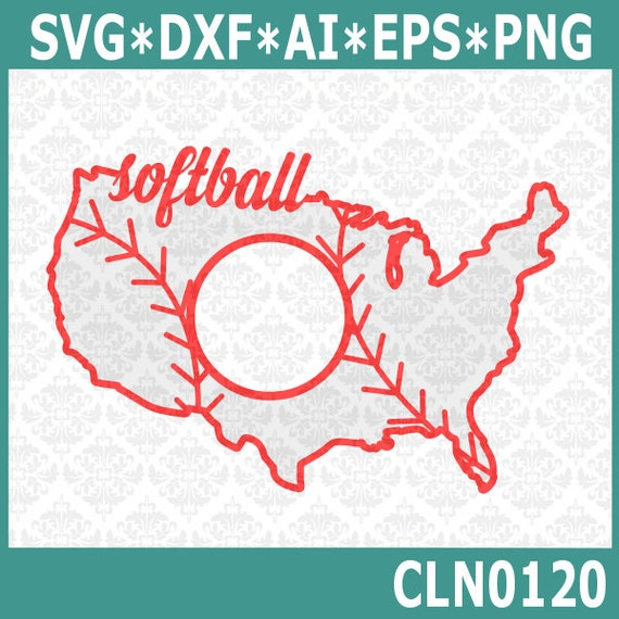 CLN0120 Softball USA America Monogram United States Outline SVG DXF Ai Eps Png Vector Instant Download Commercial Cut File Cricut Silhouette