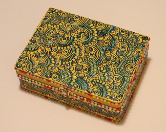 Yellow and Turquoise Multicolor Jewelry Box
