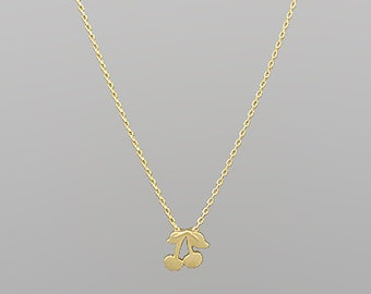 Gold Cherry Charm Necklace