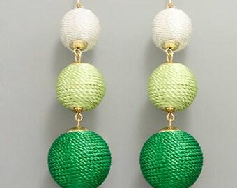 White & Green 3 BonBon Drop Earrings