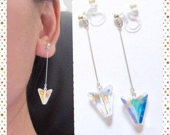 AB Swarovski Rhinestone clip on earring  6C  Arrow earring   Dagger Earring   Wedding Clip On Earrings   Non Pierced Earring  BRidal clip on
