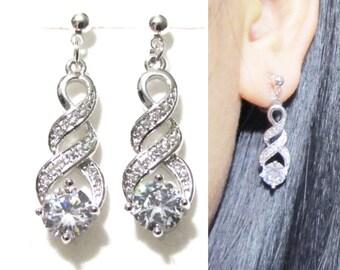 Micropavé Infinity Love Crystal Clip On Earrings |15C| Silver Clear Rhinestone Clip On Earrings Wedding Dangle Long Bridal Clip On Earrings