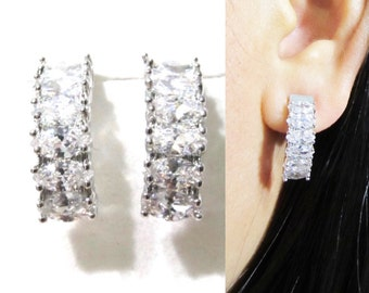 Clip-ons, Marquise Cut CZ Crystal Clip on earrings 15D Wedding Clip on earrings Bar Hoop Clipons Bridal Clip on Earring Non Pierced earrings