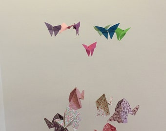 Origami mobile - butterflies and elephants
