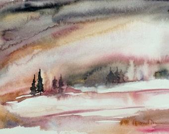 Abstract landscape, landscape watercolor, abstract landscape painting, landscape painting, semi abstract landscape, watercolor landscape