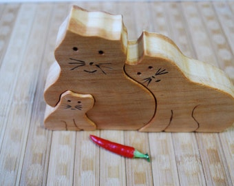 Wood puzzle  Wooden puzzle  Wooden cat puzzle  Cats family  Animal puzzle  Handmade puzzle  Wooden toy  Waldorf toy  Education children