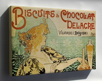 Canvas 24x36; Art Nouveau P4 Biscuits And Chocolat Delacre C1896 Henri Privat-Livemont Art Naouveau