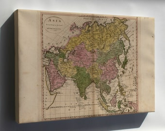 Canvas 24x36; Map Of Asia 1814 P2
